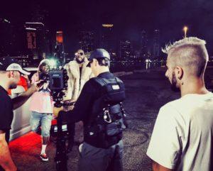 Styck au tournage du clip Corazon